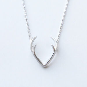 Antler Silver Necklace Trendy New NWT Skull Deer